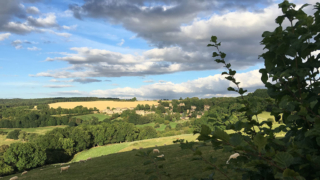 Sheepscombe Byre holiday cottage: view from field towards Snowshill