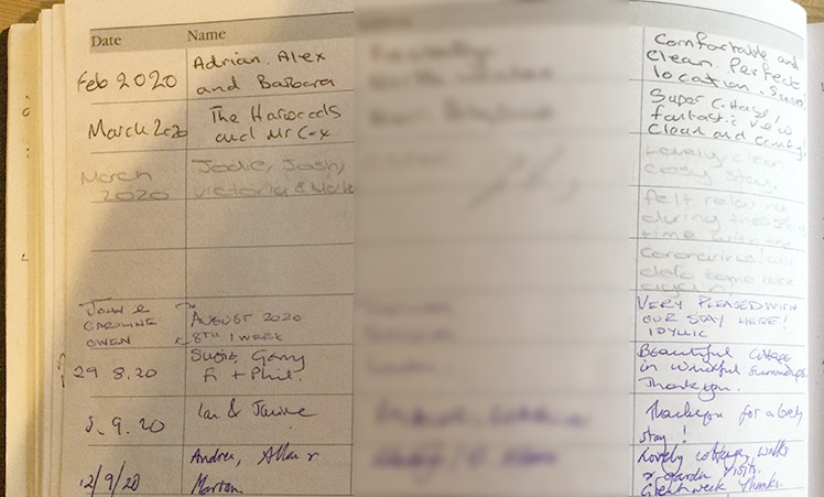A page from the Visitors' Book at Sheeps Combe Byre 2020