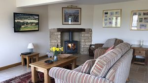 Sheepscombe Byre: log burner and sitting area